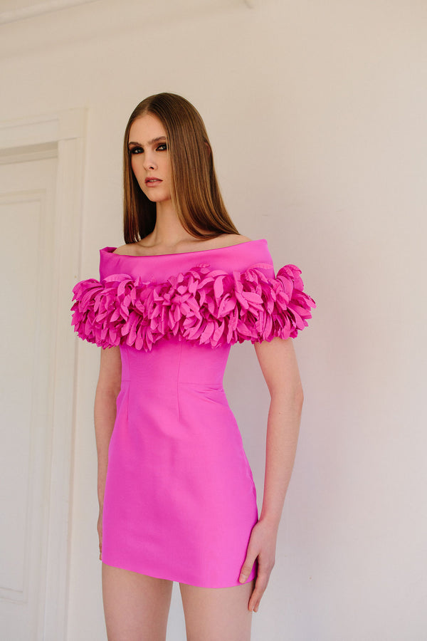 Off Shoulder Mini with Anemone Collar