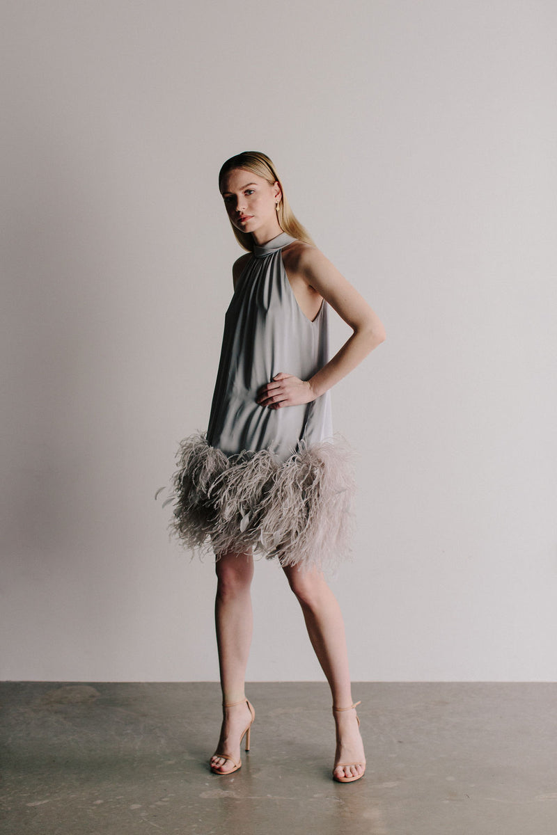 T-Neck Swing Dress with Ostrich Feather Hem