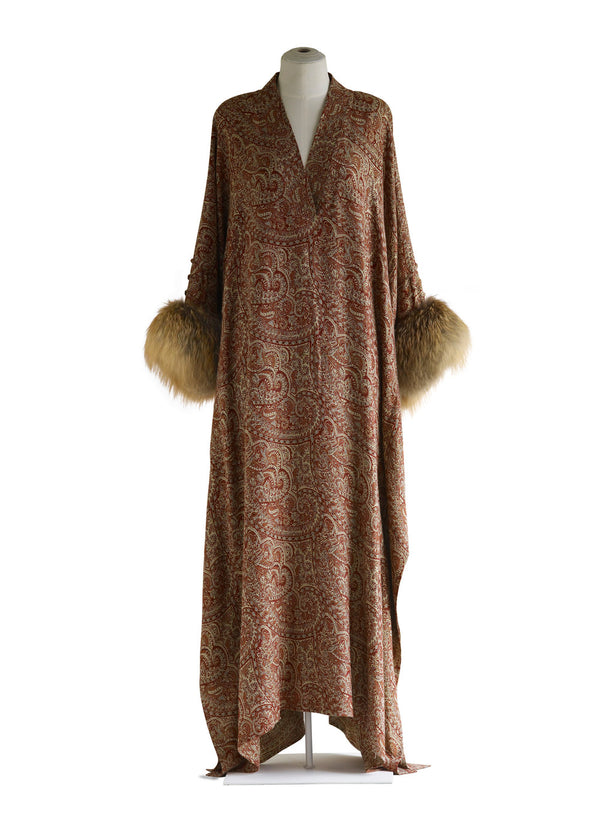 V-Neck Caftan with Fox Fur Cuff