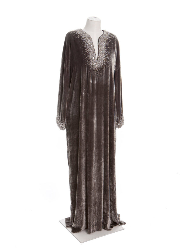 Split Neck Caftan with Gemmed Cuffs & Neckline