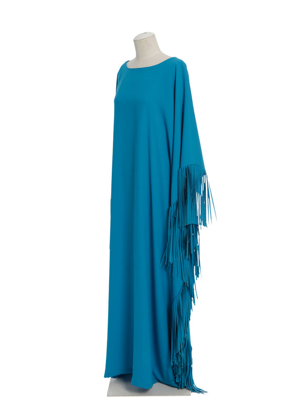 Boat Neck Caftan with Fringed Sides