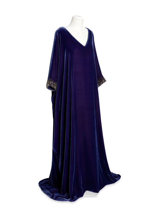 V-Neck Caftan with Crystal Sleeves