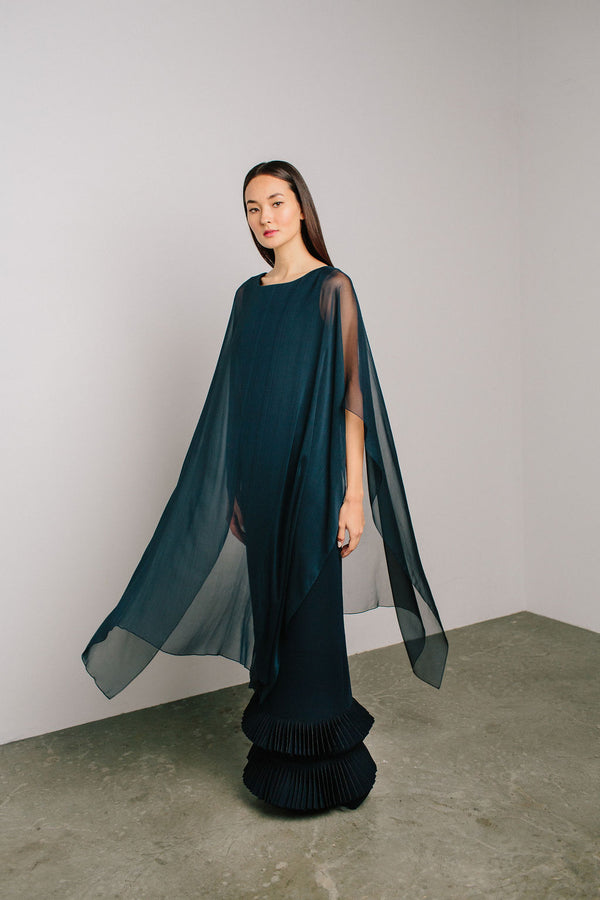 Boat Neck Capelet Gown with Diamond Hem