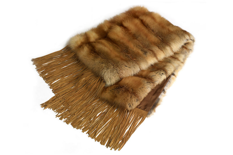 Fox Fur Throw with Fringe Detail