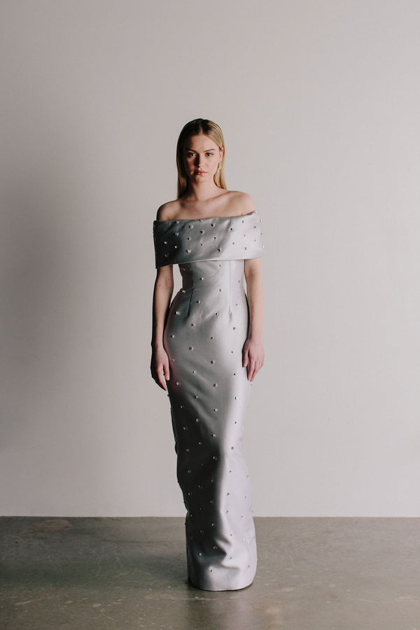 Off Shoulder Grace Gown with All Over Baguette Gems