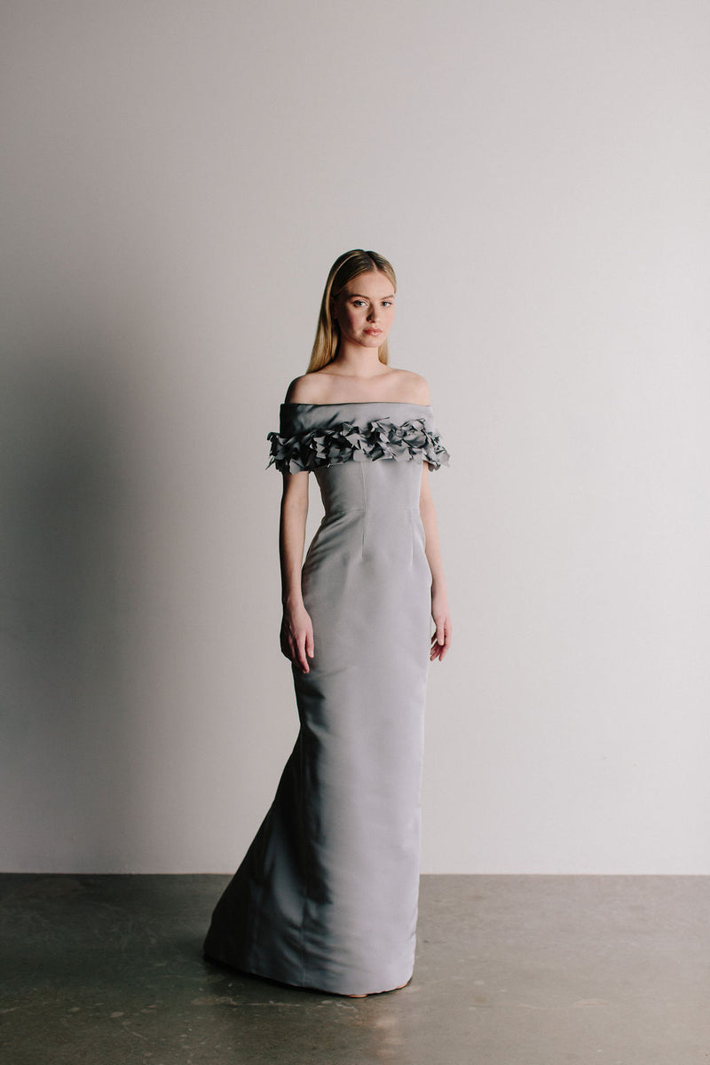 Off Shoulder Grace Gown with Ruffle Collar