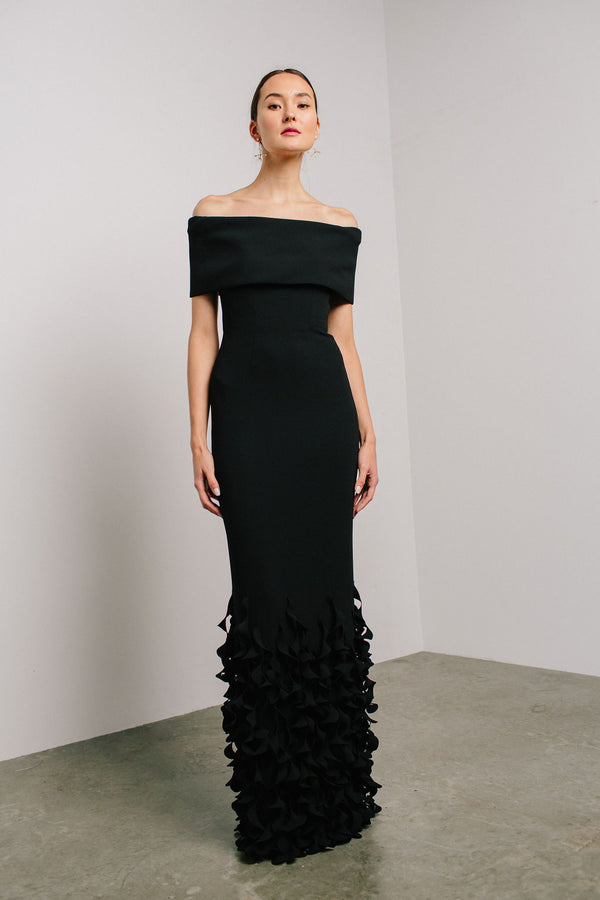Off Shoulder Roll Collar Gown with Spiral Hem