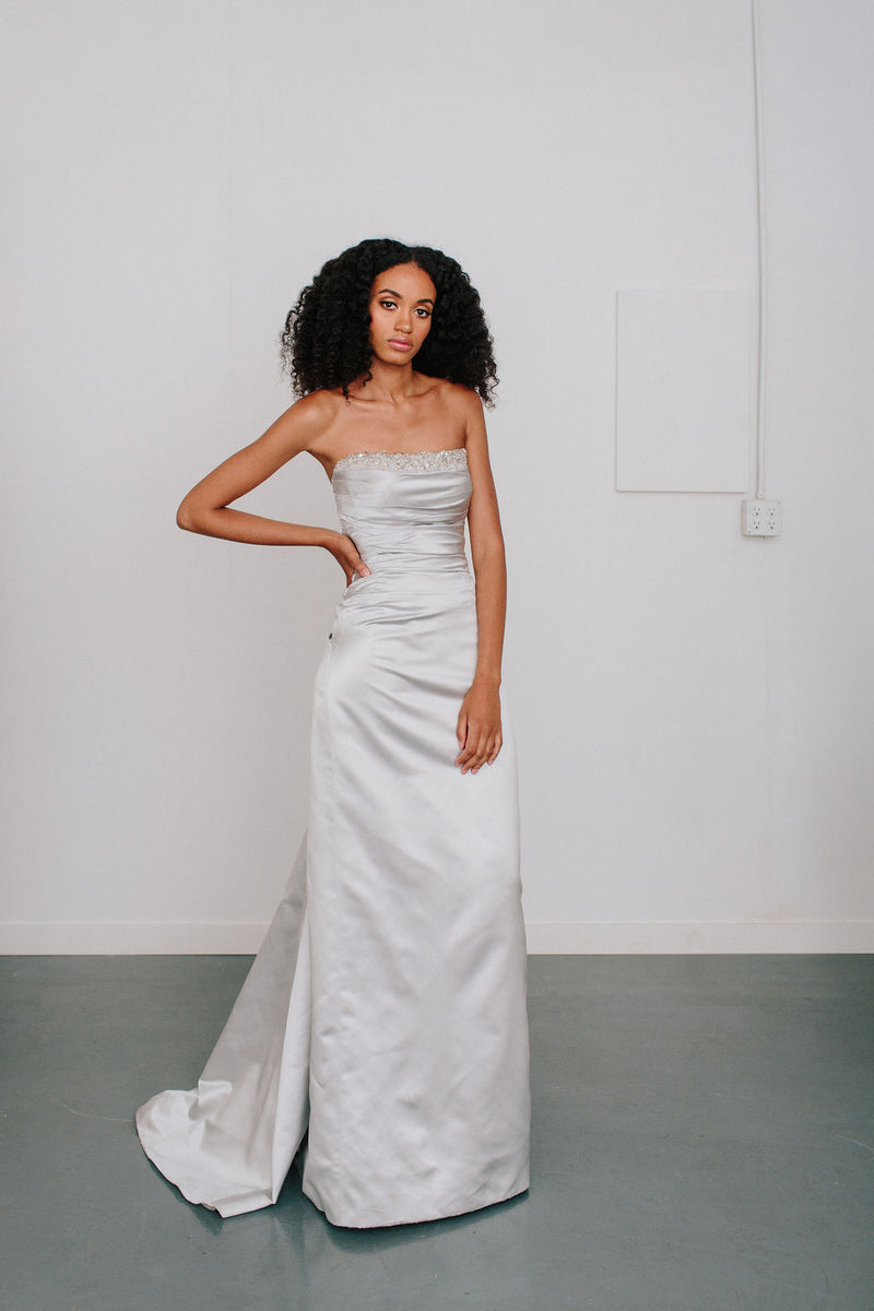 Strapless Back Draped Gown with Crystals