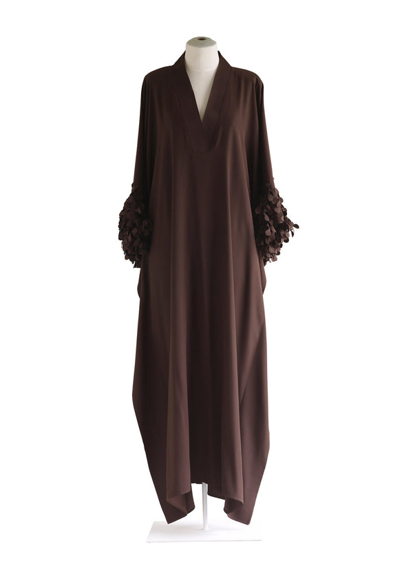 V-Neck Caftan with Laser cut Cuffs