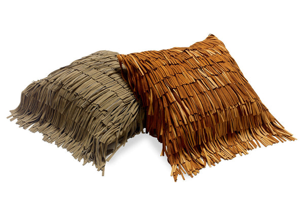 All Over Suede Fringe Cushion