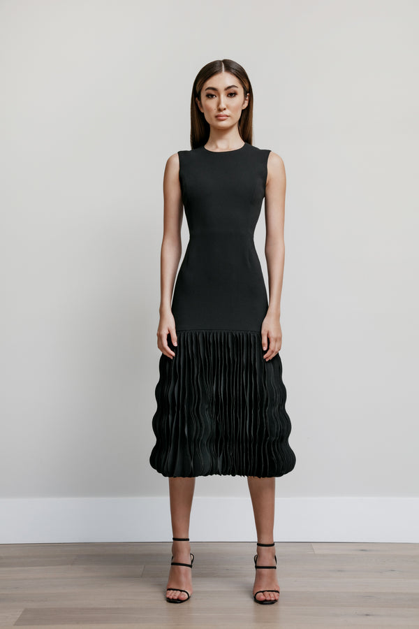Jewel Neck Fitted Dress with A-Line Wave Skirt