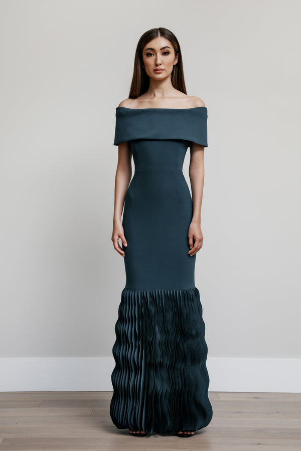 Off Shoulder Roll Collar Gown with Wave Hem