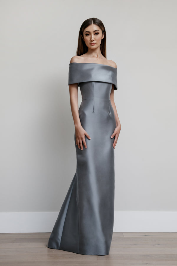 Off Shoulder Roll Collar Gown