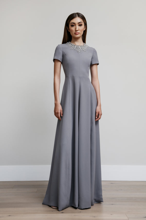 Jewel Neck Van Der Rohe Gown with Full Crystal Neckline