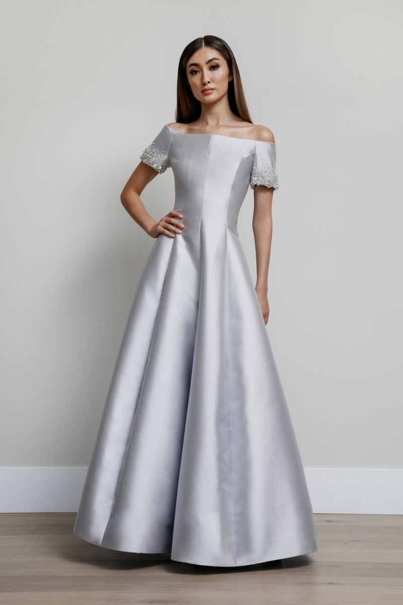 Off Shoulder Van Der Rohe Gown with Gem Sleeves