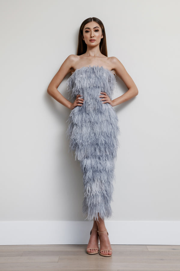 Strapless Feather Row Dress