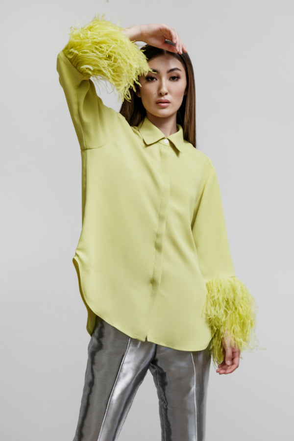 Jane Shirt with Feather Fringe Cuffs