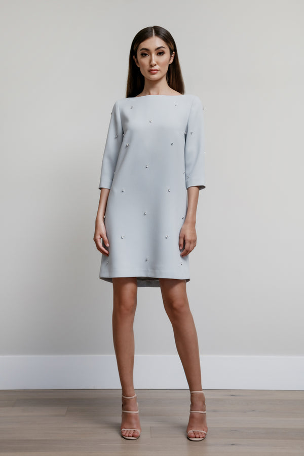 Boat Neck Dress with All Over Scattered Crystals