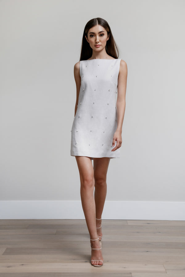 Sleeveless Boat Neck Arak Dress with All Over Gems