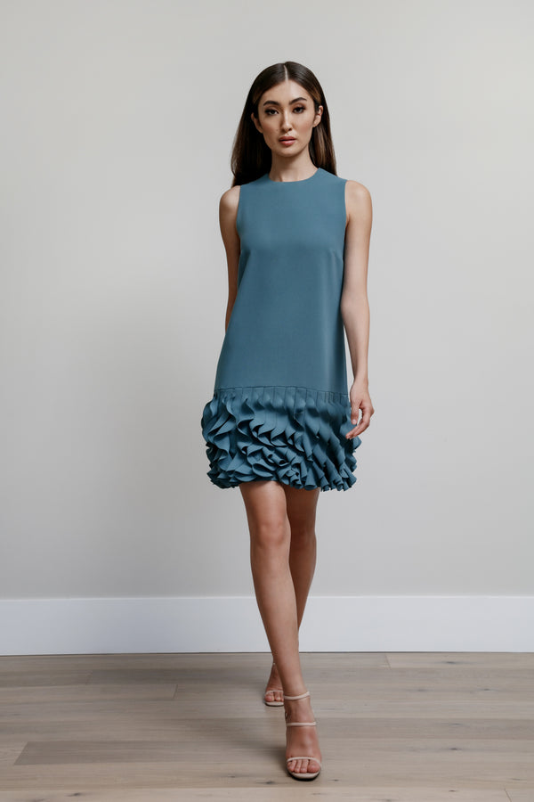 Jewel Neck Arak Dress with Ruffle Hem