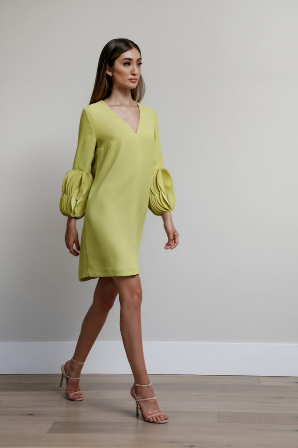 V-Neck Arak Dress with Overlapping Oval Disc Cuff