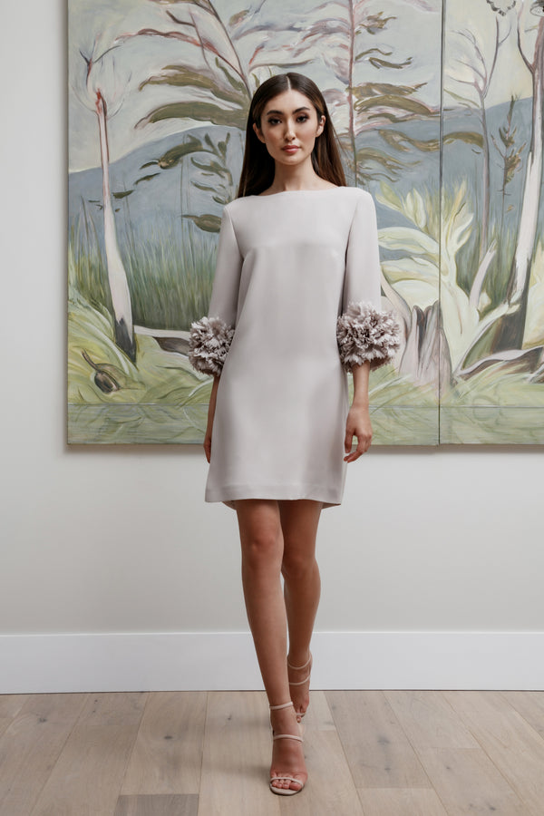 Boat Neck Arak Dress with Floral Cuff