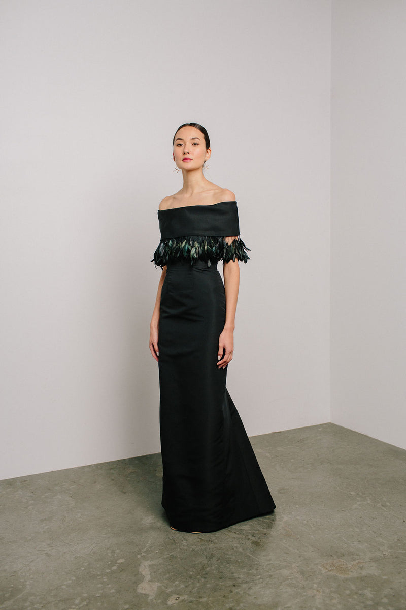 Off Shoulder Roll Collar Gown with Coque Feather Trim