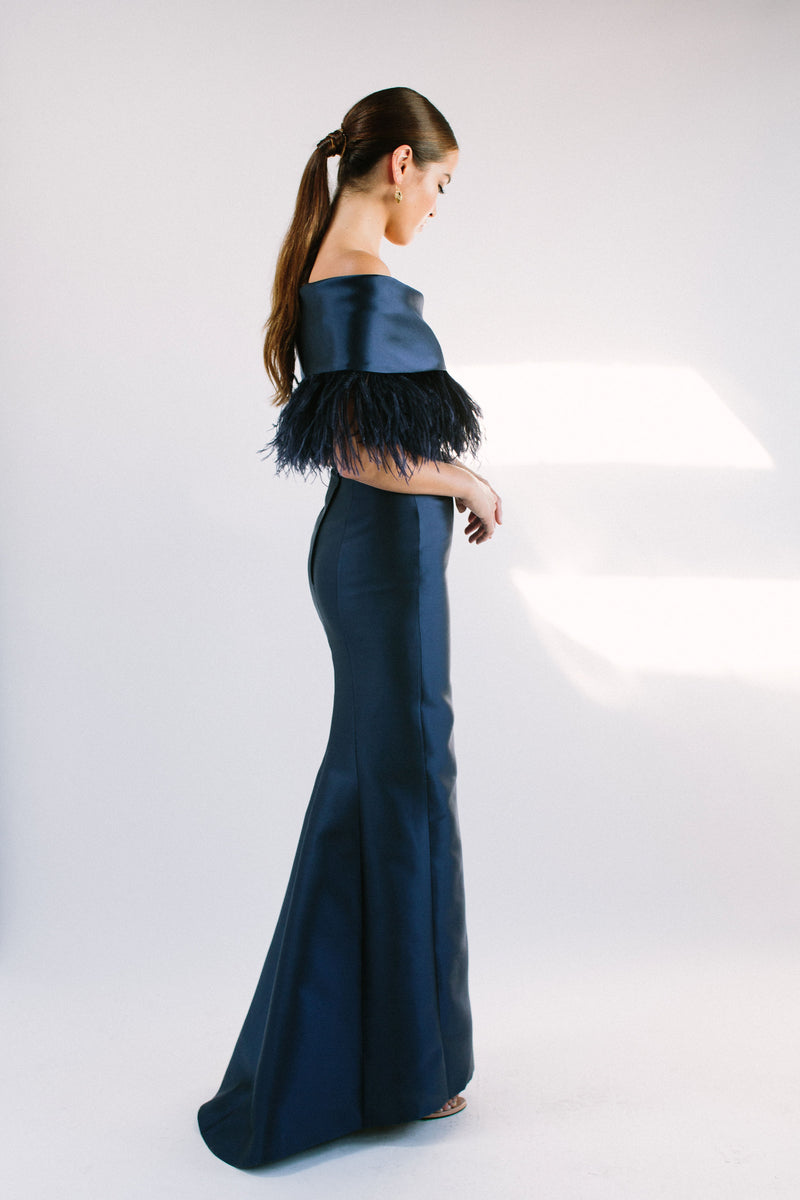 Off Shoulder Roll Collar Gown with Feather Trim