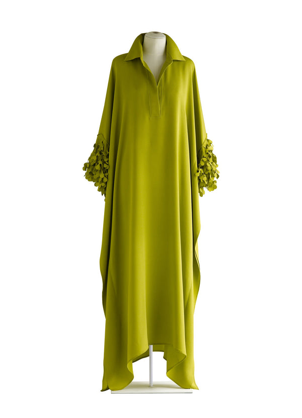 Shirt Collar Caftan with Laser Cut Kelp Cuffs