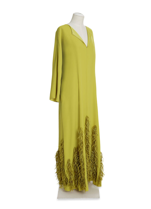 Split Neck Caftan with Laser Cut Fringe Hem