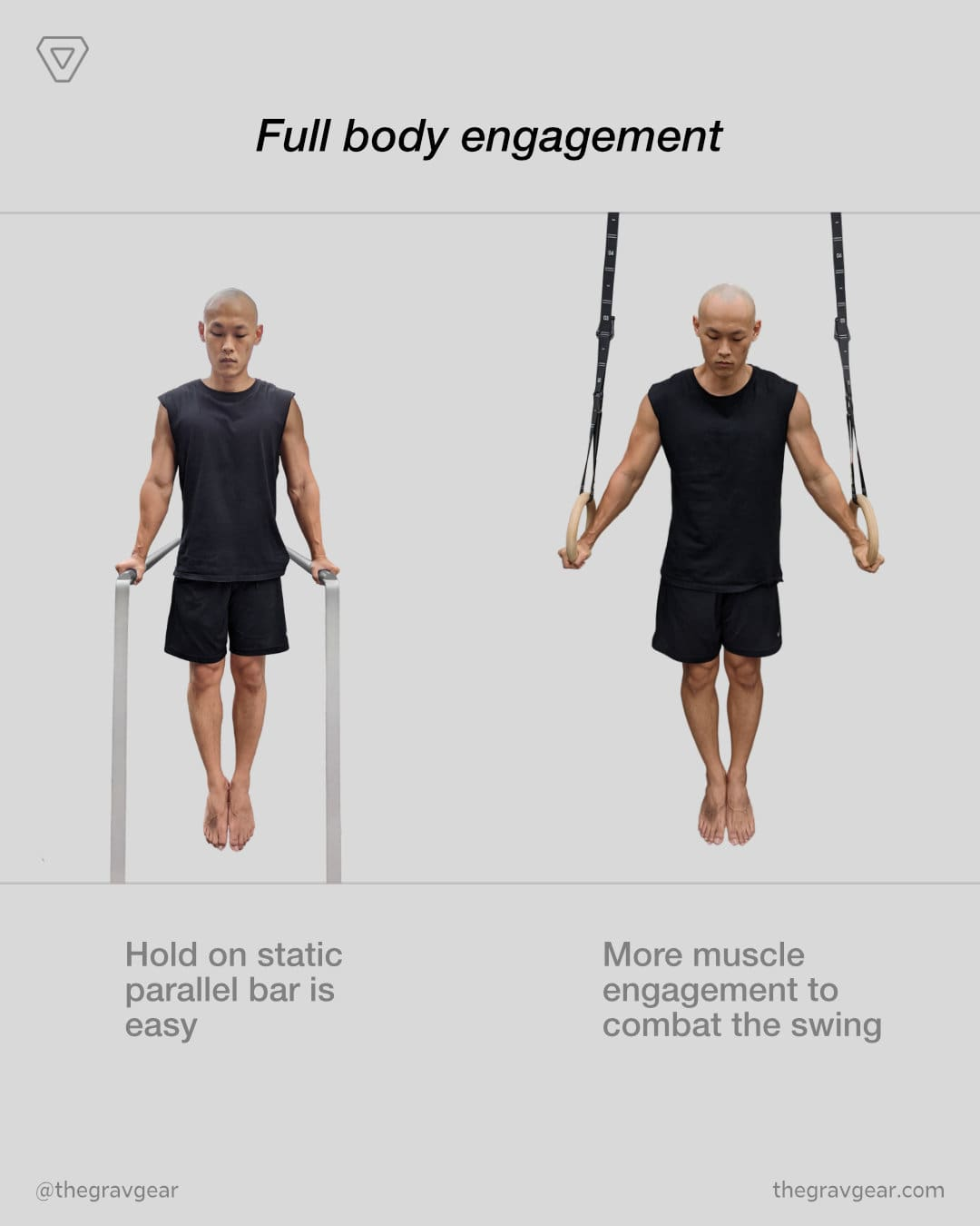 grav gymnastic rings by gravgear are engaging full body