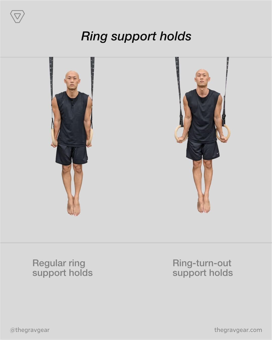 grav gymnastic rings by gravgear are perfect for ring support holds