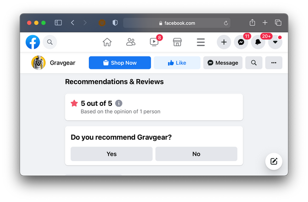 Write a review for gravgear on facebook