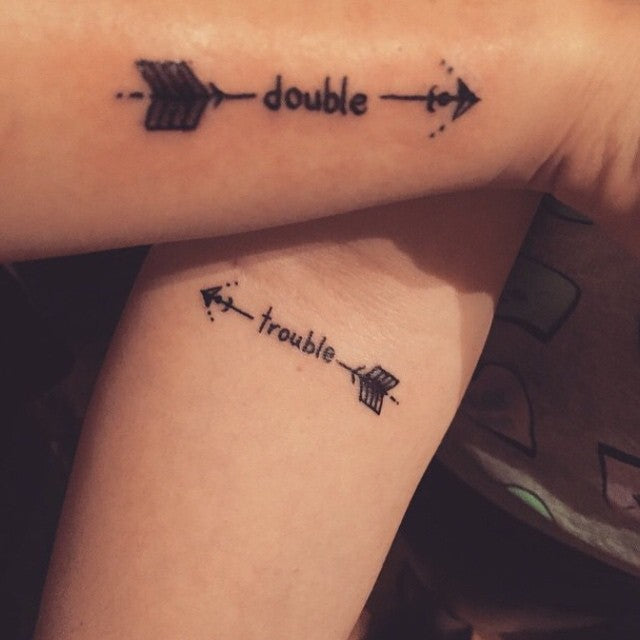 Double Trouble Matching Couple Tattoo
