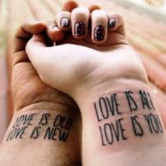 Love is all Matching Couple Tattoo