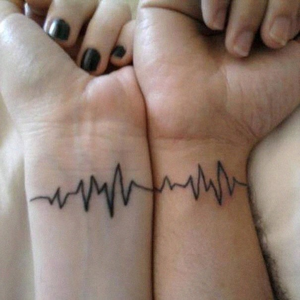 Cardiology Graph Matching Couple Tattoo