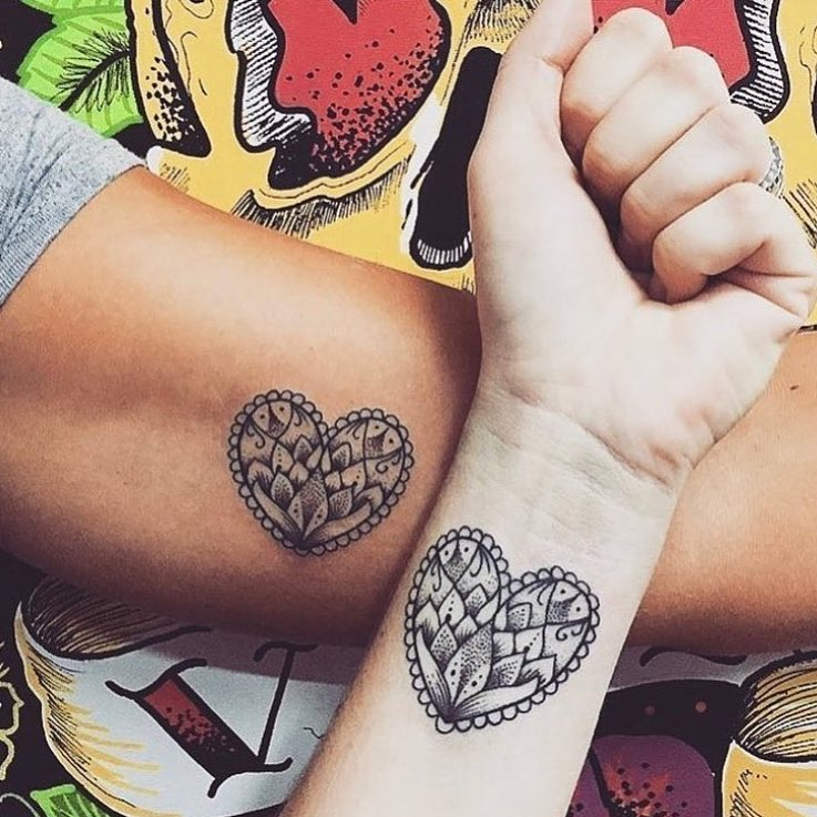 Floral Heart Matching Couple Tattoo