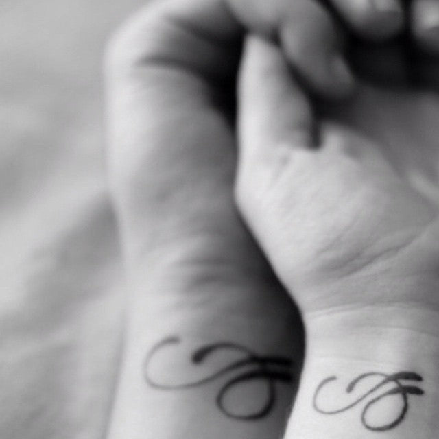 D letter Matching Couple Tattoo