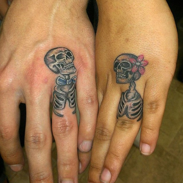 Married Skeletons Matching Couple Tattoo