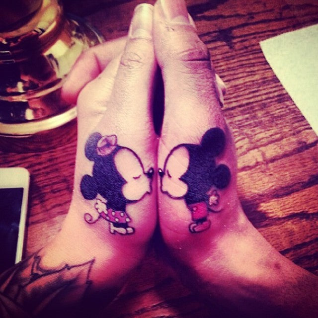 Kissing Mickey Matching Couples Tattoos