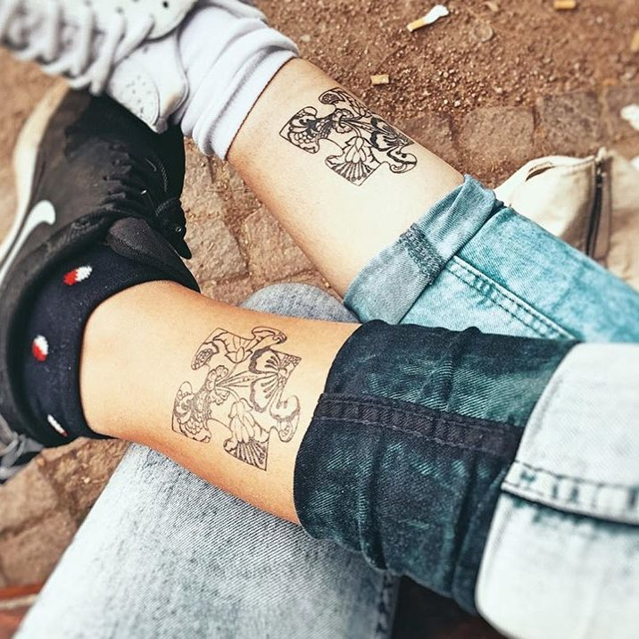 Puzzle flower Matching Couple Tattoo