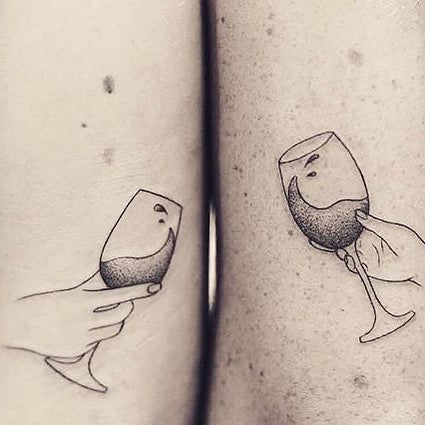 Wine Matching Couples Tattoos