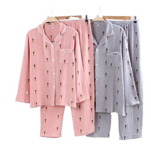 Matching Couple Nightwear Carrot Print Long Sleeves - Matching Outfits