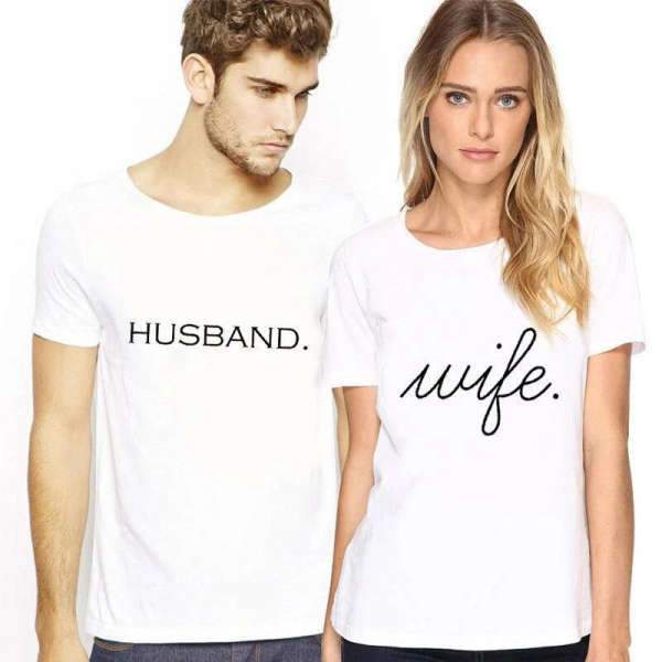 Matching Couple T-Shirt Simple Wife - Matching Outfits