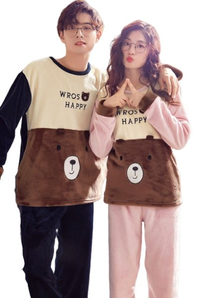 Matching Couples Jammies Flanel Brown Bear - Matching Outfits