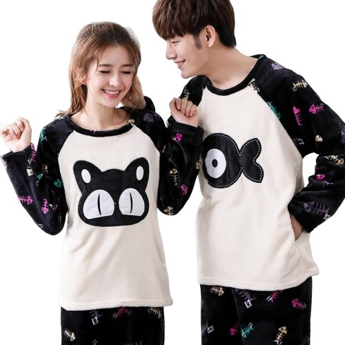 Matching Couples PJ's Black Cat Fish - Matching Outfits