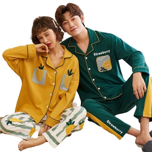 Matching Couples Sleepwear Yellow Strawberry - Matching Outfits