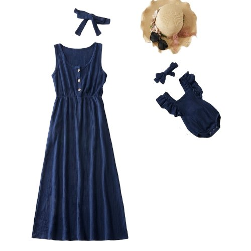 Matching Mom and Baby Simple Navy Dress - Matching Outfits