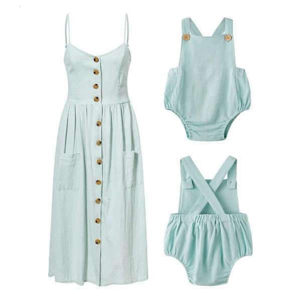 Matching Mom and Baby Spring Blue Dress - Matching Outfits