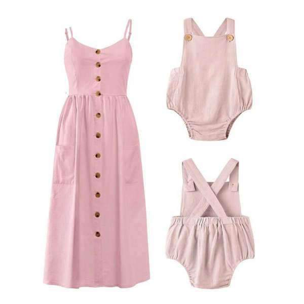 Matching Mom and Baby Spring Pink Dress - Matching Outfits